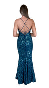Bariano Serpentine Scoop Pattern sequin dress petrol blue back