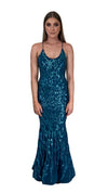 Bariano Serpentine Scoop Pattern sequin dress petrol blue front