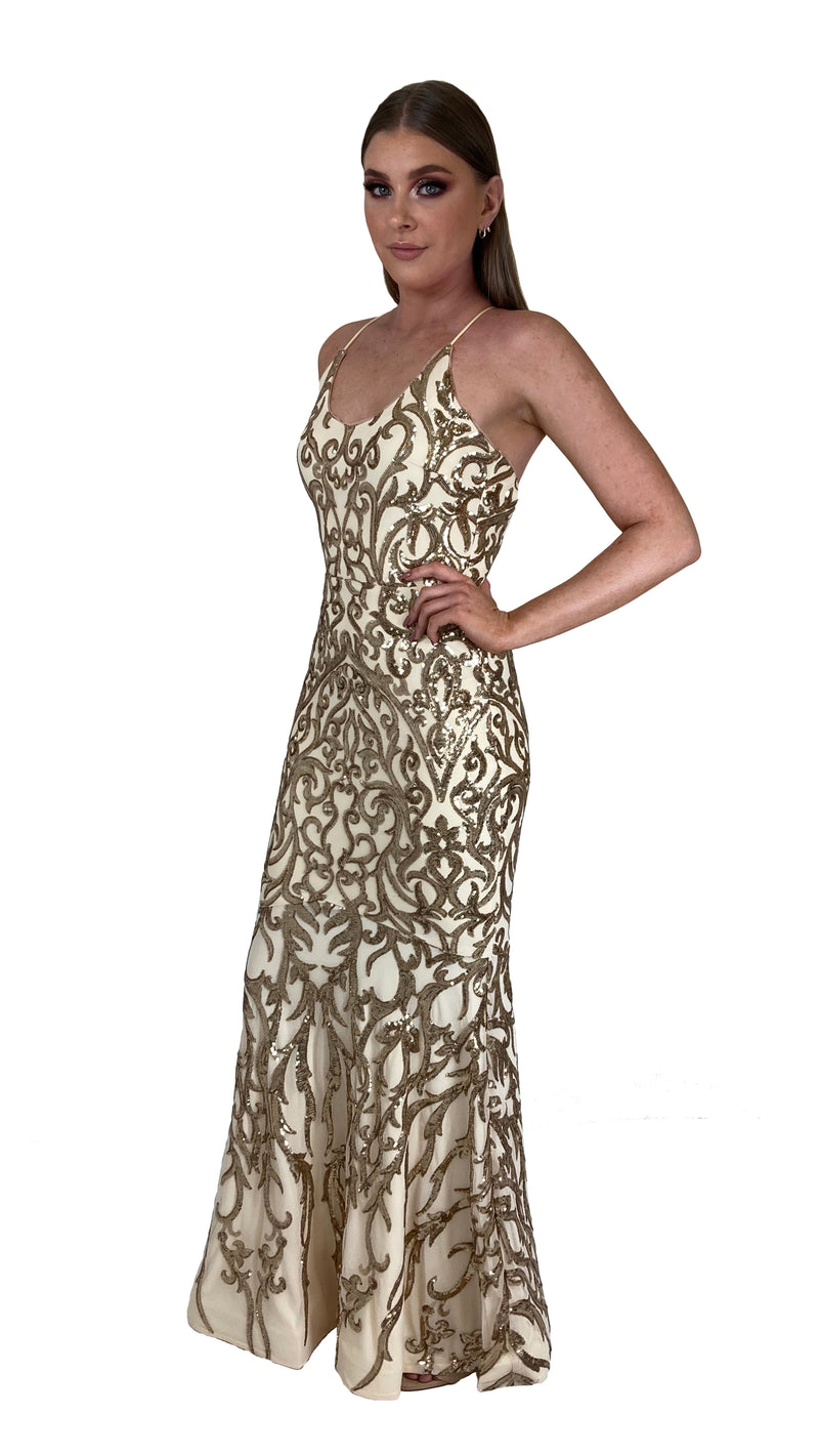 Bariano Serpentine Scoop Pattern sequin dress pale gold back