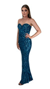 Bariano Shiva Sweetheart Pattern Sequin gown petrol blue