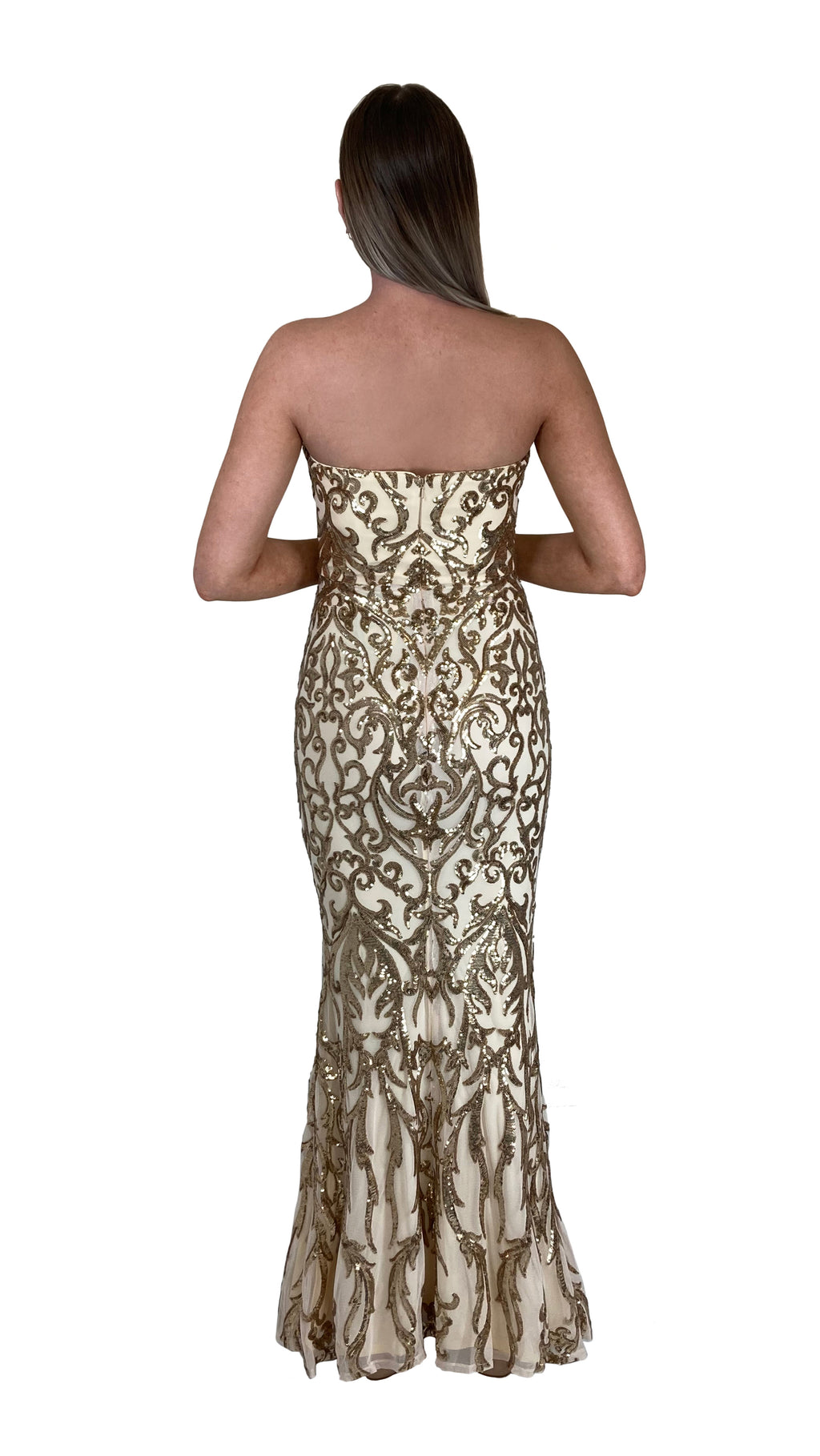 Bariano Shiva Sweetheart Pattern Sequin gown pale gold back