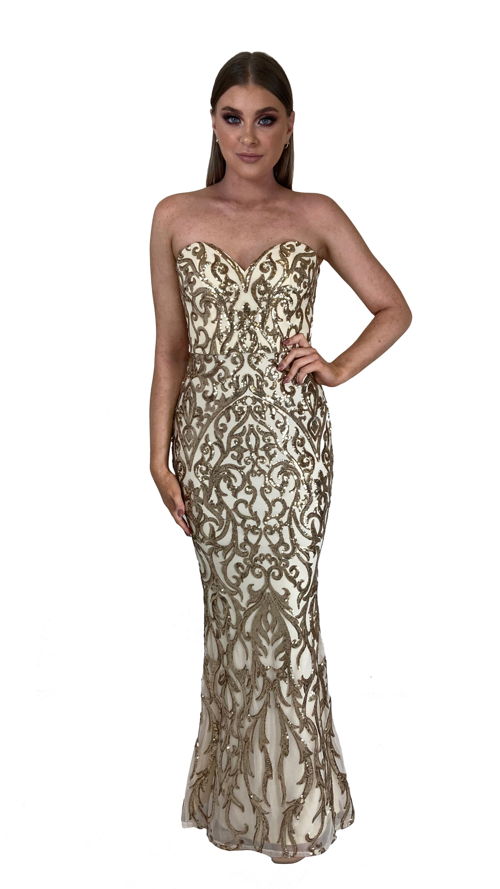 Bariano Shiva Sweetheart Pattern Sequin gown pale gold front