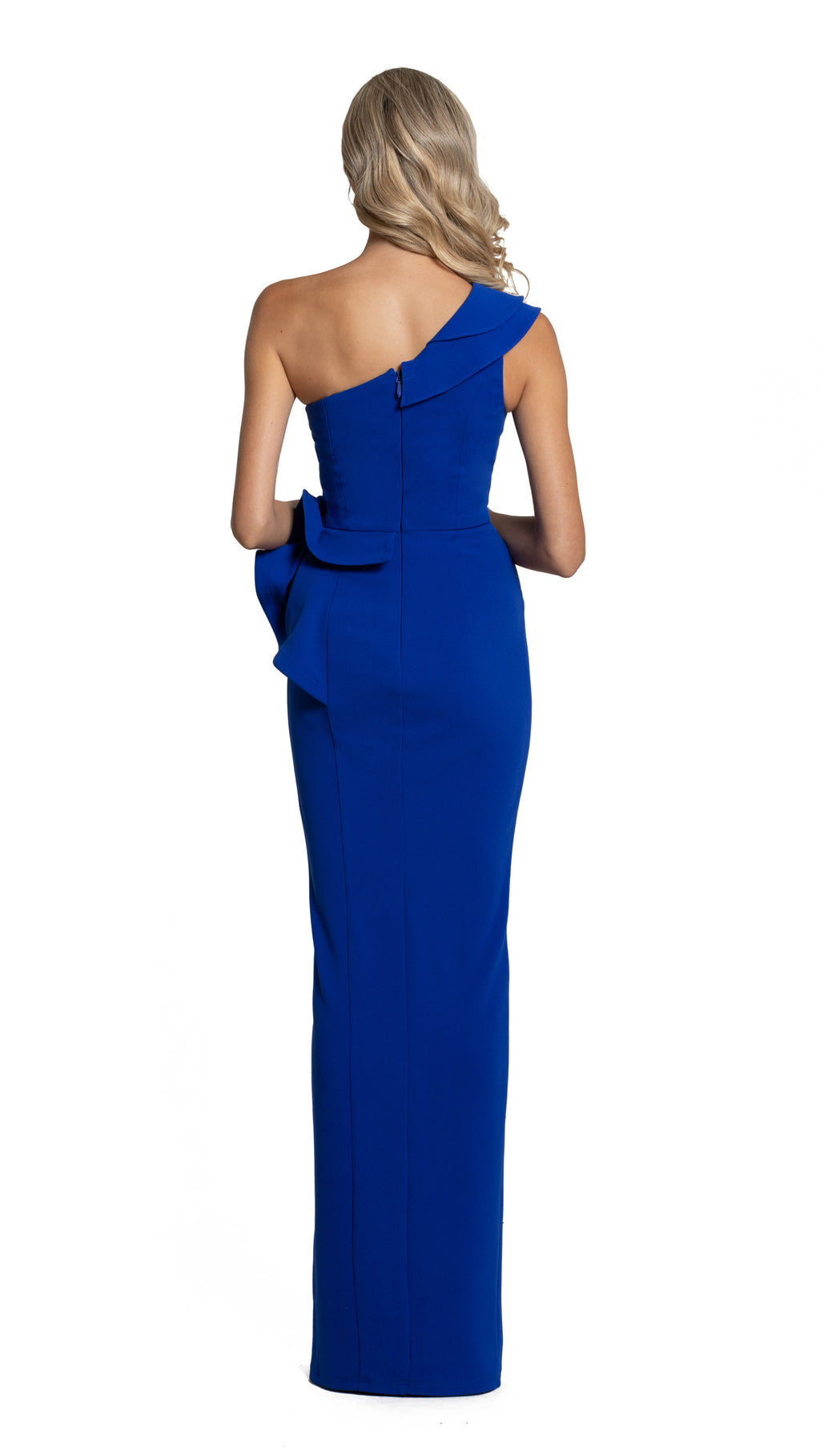 Bariano Amaris Asymmetrical Gown with peplum cobalt back