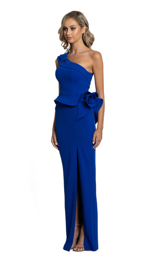 Bariano Amaris Asymmetrical Gown with peplum cobalt side