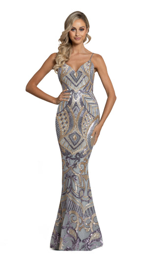 Eisley Fishtail Pattern Sequin Gown in purple ash gold