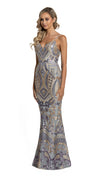 Eisley Fishtail Pattern Sequin Gown in purple ash gold side