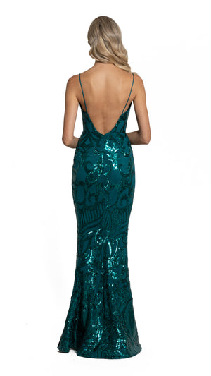 Eisley Fishtail Pattern Sequin Gown with low back in emerald