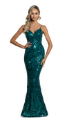 Eisley Fishtail Pattern Sequin Gown in emerald