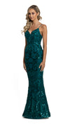 Eisley Fishtail Pattern Sequin Gown in emerald side