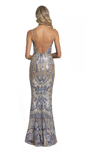 Eisley Fishtail Pattern Sequin Gown with low back in purple ash gold