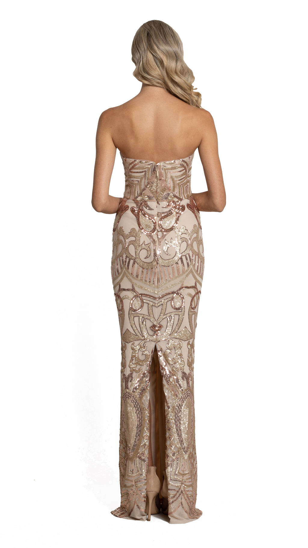 Navin Sweetheart Pattern Sequin Gown in rose gold back