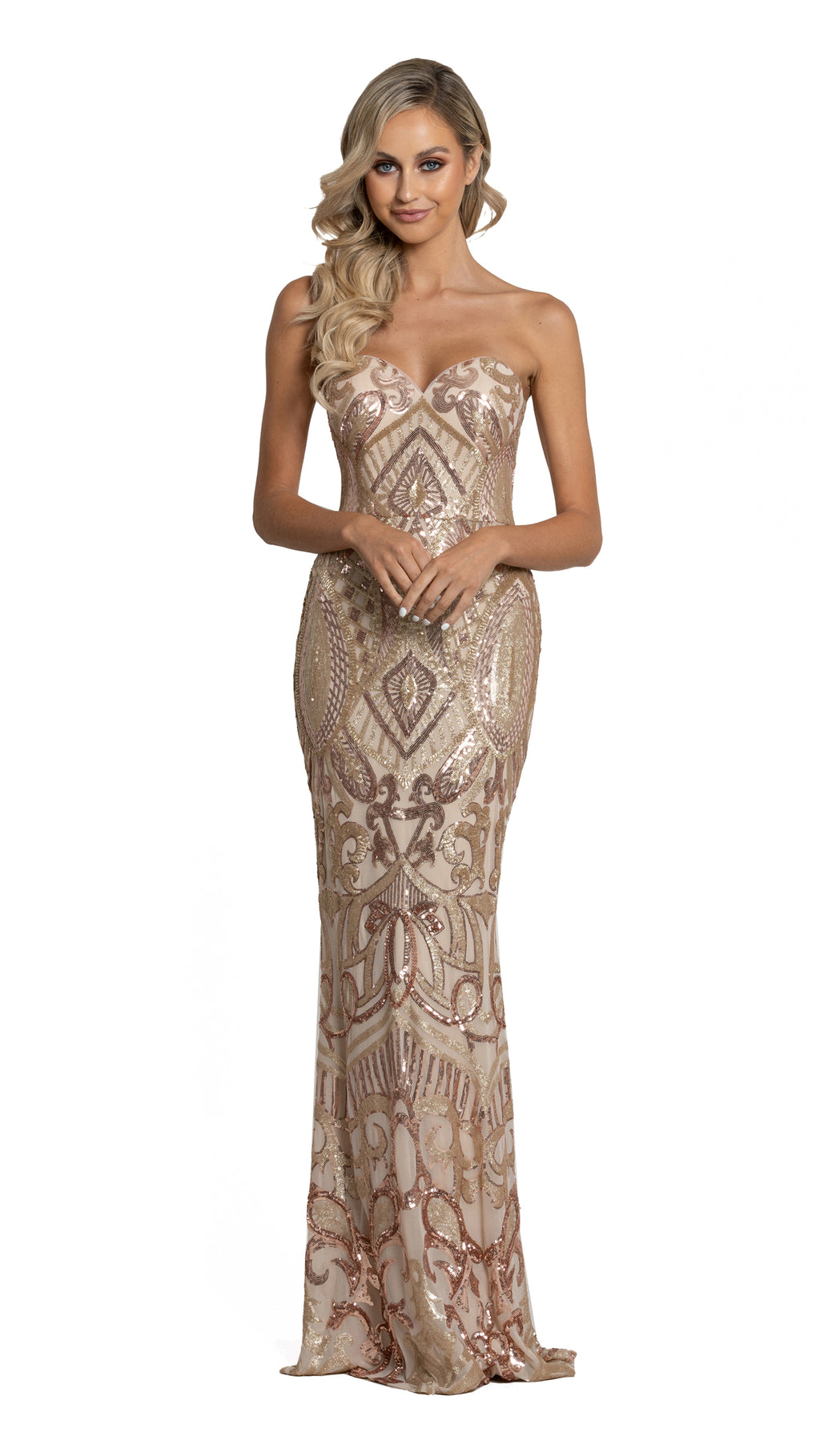 Navin Sweetheart Pattern Sequin Gown in rose gold