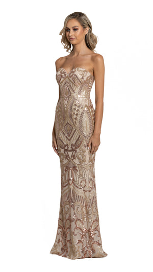 Navin Sweetheart Pattern Sequin Gown in rose gold side