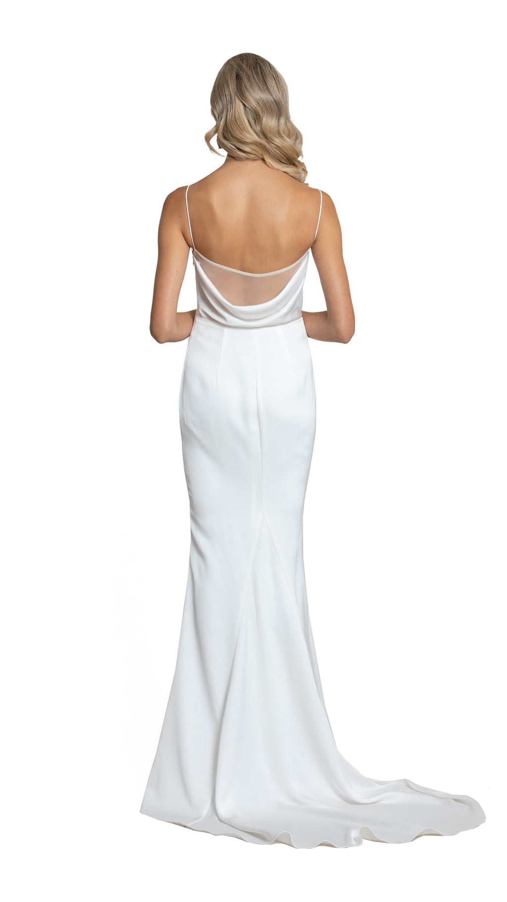 Yasmin Cowl Satin Gown with draped back in white