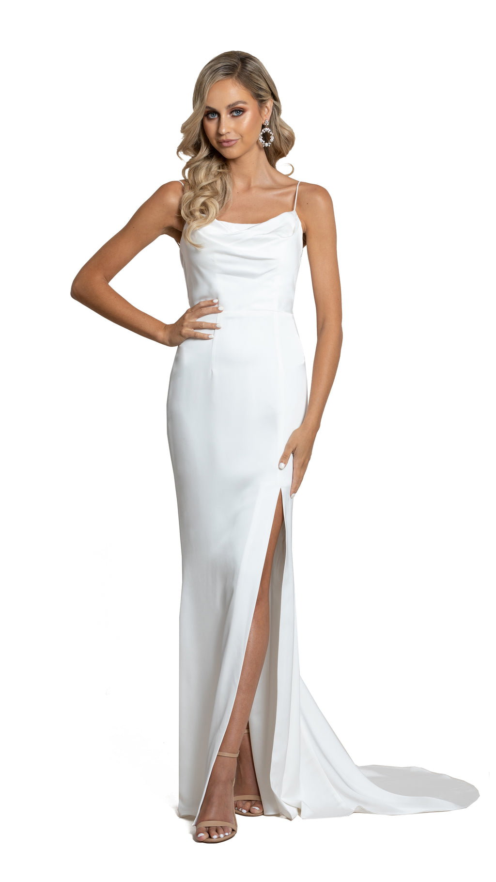 Yasmin Cowl Satin Gown in white