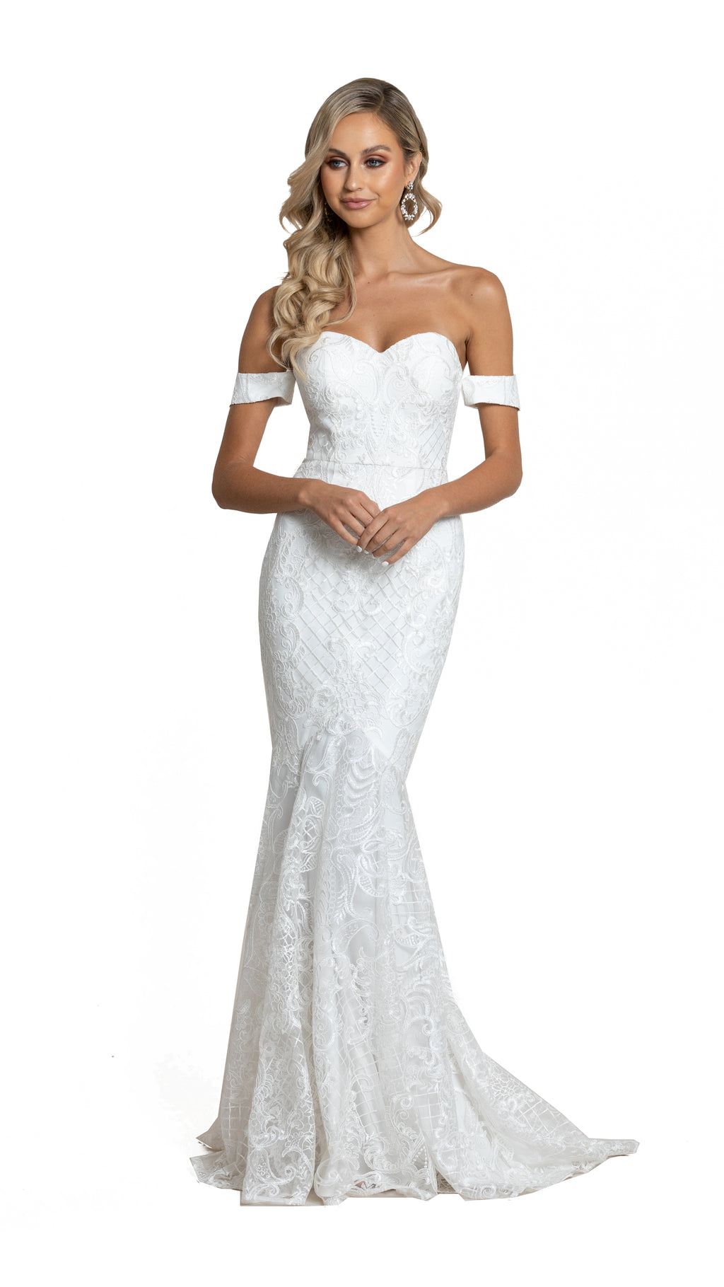 Kalina Off Shoulder Lace Gown with detachable straps in white