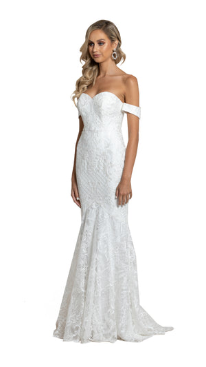 Kalina Off Shoulder Lace Gown with detachable straps in white side