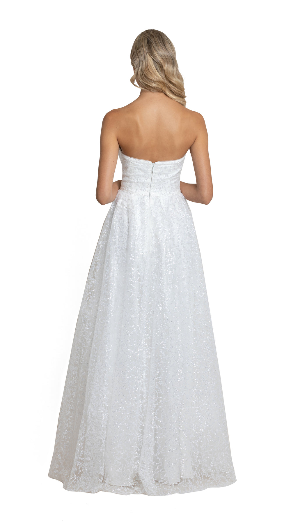 Carla Sweetheart Glitter Gown in white back
