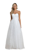 Carla Sweetheart Glitter Gown in white