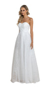 Carla Sweetheart Glitter Gown in white side