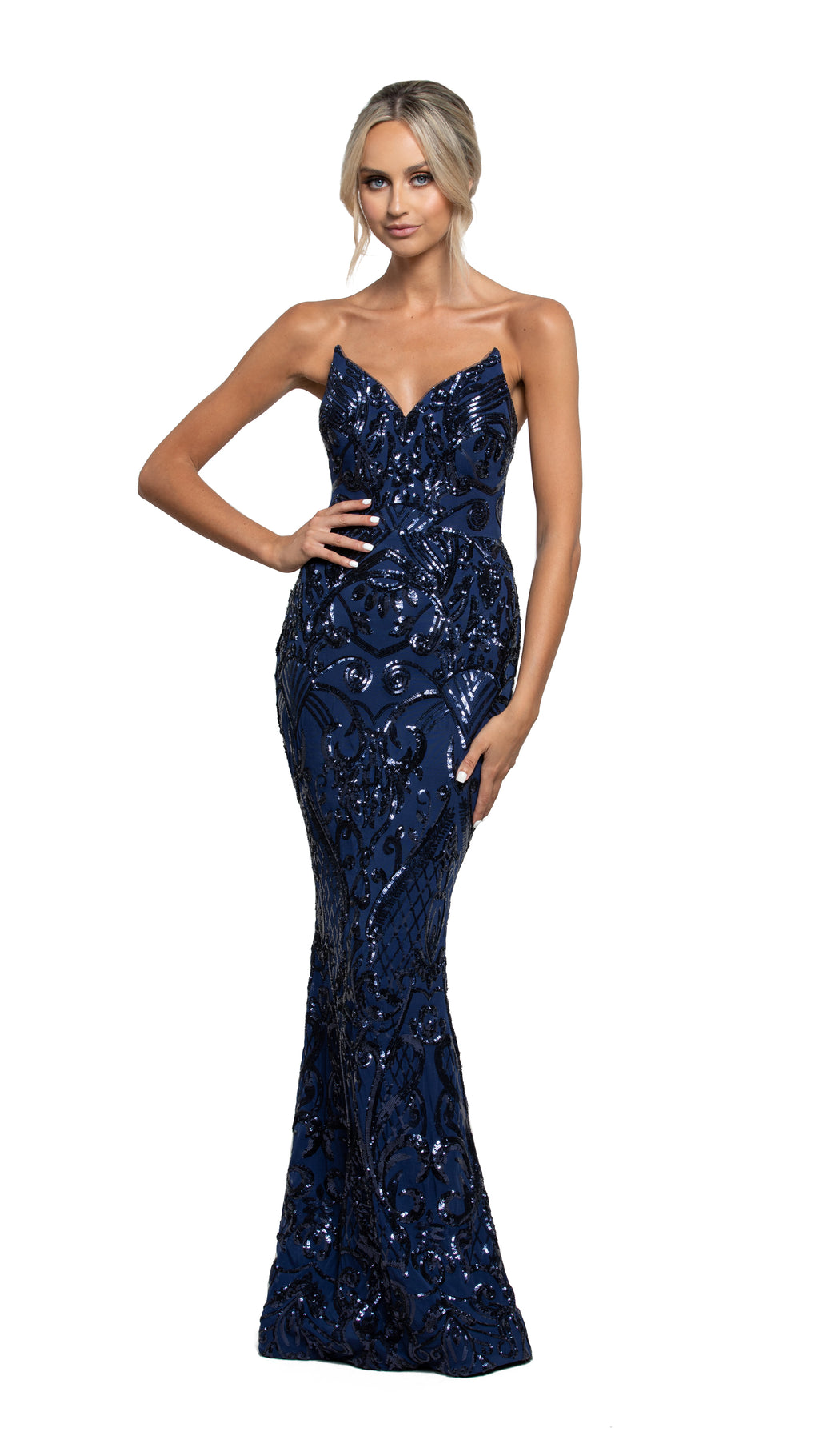 Maya Strapless Gown in navy pattern sequin