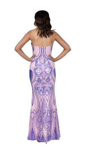 Alexia Sweetheart Gown in Blush/Lilac BACK