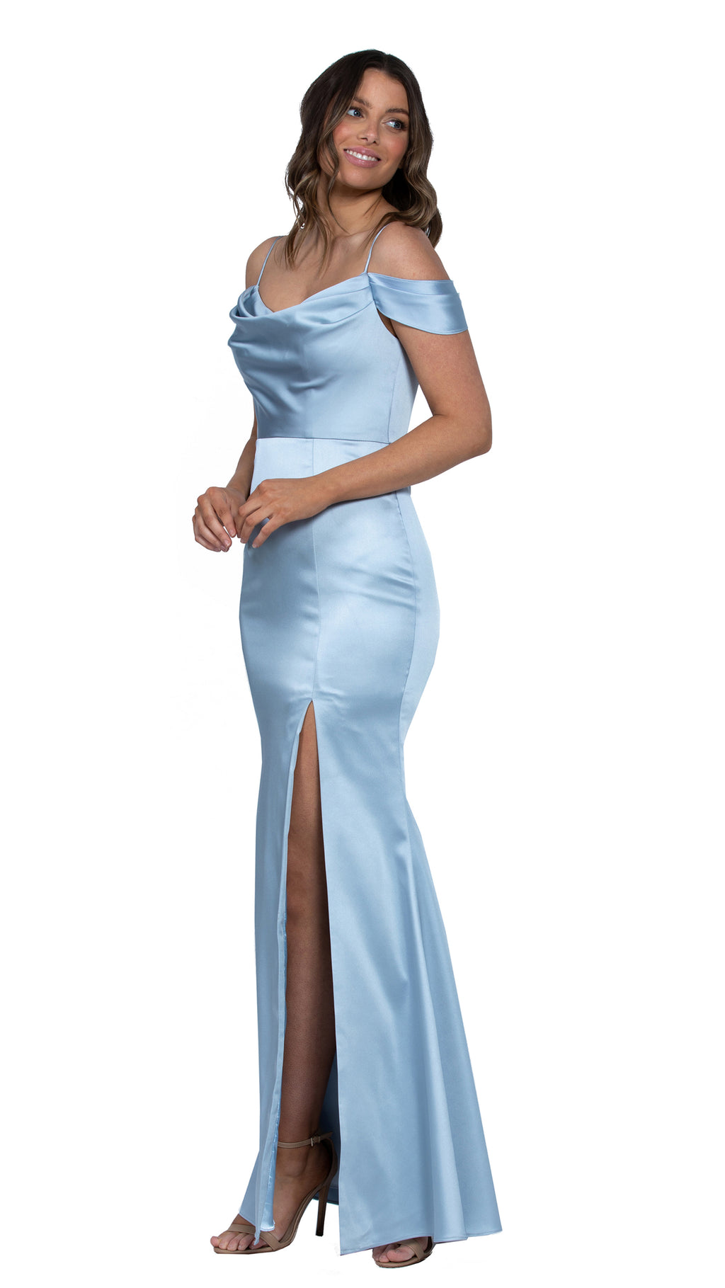 Christy Cowl Off Shoulder Gown in Sky Blue