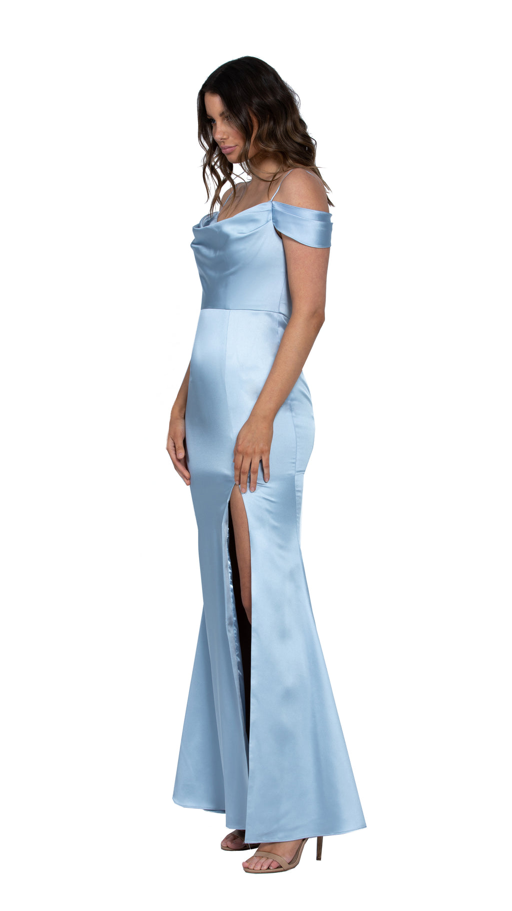 Christy Cowl Off Shoulder Gown in Sky Blue SIDE