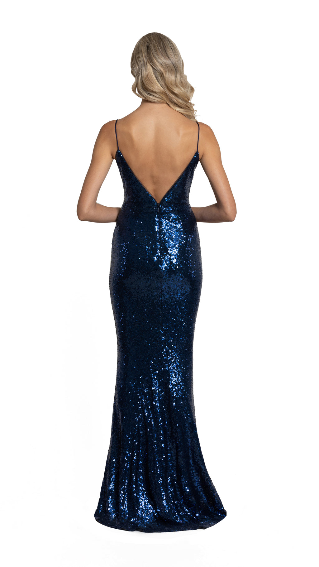 Megan Plunge V Neck Gown with low back  in indigo
