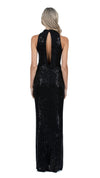 Demi High Neck Cowl Gown in Black with Open Back