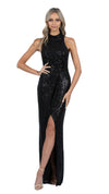 Demi High Neck Cowl Gown in Black Sequins