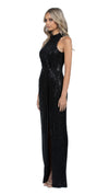 Demi High Neck Cowl Gown in Black SIDE