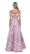 Mia Off Shoulder Jacquard Ball Gown in Pink Blush BACK