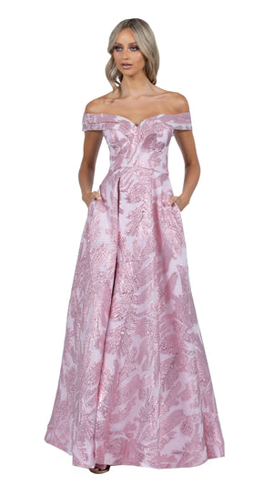 Mia Off Shoulder Jacquard Ball Gown in Pink Blush