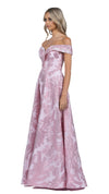Mia Off Shoulder Jacquard Ball Gown in Pink Blush SIDE