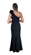Bariano Sue frill one shoulder dress black back