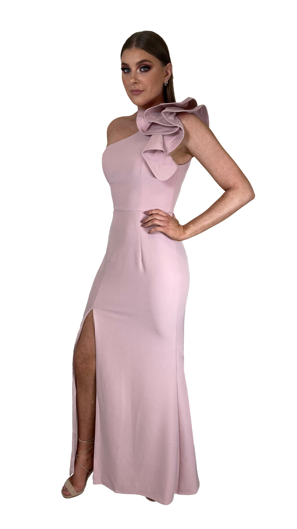 Bariano Sue frill one shoulder dress Blush