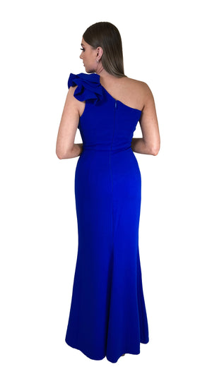 Bariano Sue frill one shoulder dress Cobalt back