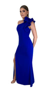 Bariano Sue frill one shoulder dress Cobalt