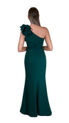 Bariano Sue frill one shoulder dress Emerald back