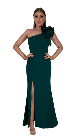Bariano Sue frill one shoulder dress Emerald