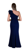 Bariano Sue frill one shoulder dress Navy back