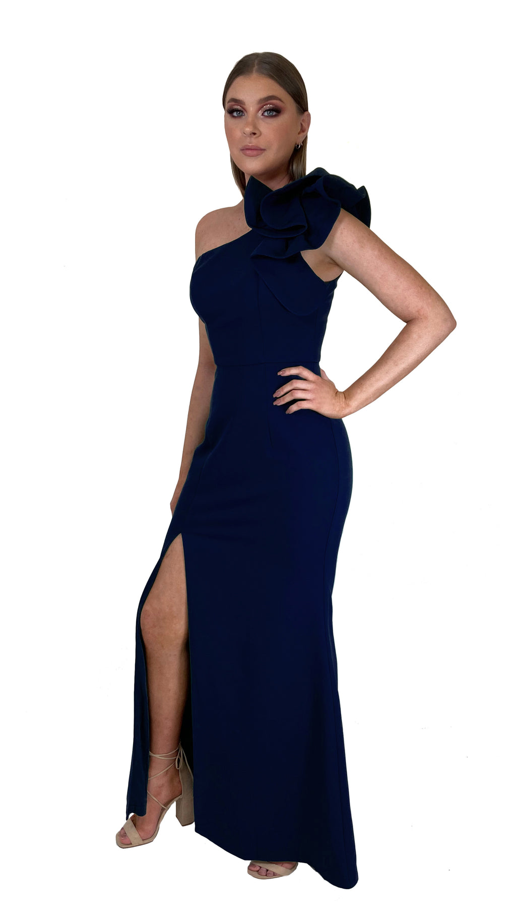 Bariano Sue frill one shoulder dress Navy