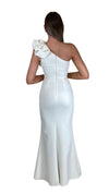 Bariano Sue frill one shoulder dress white back