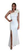 Bariano Sue frill one shoulder dress white