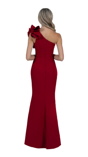 Sue Frill Gown in burgundy back