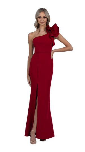 Sue Frill Gown in burgundy