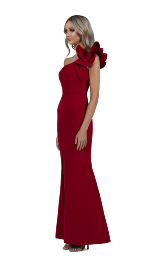 Sue Frill Gown in burgundy side