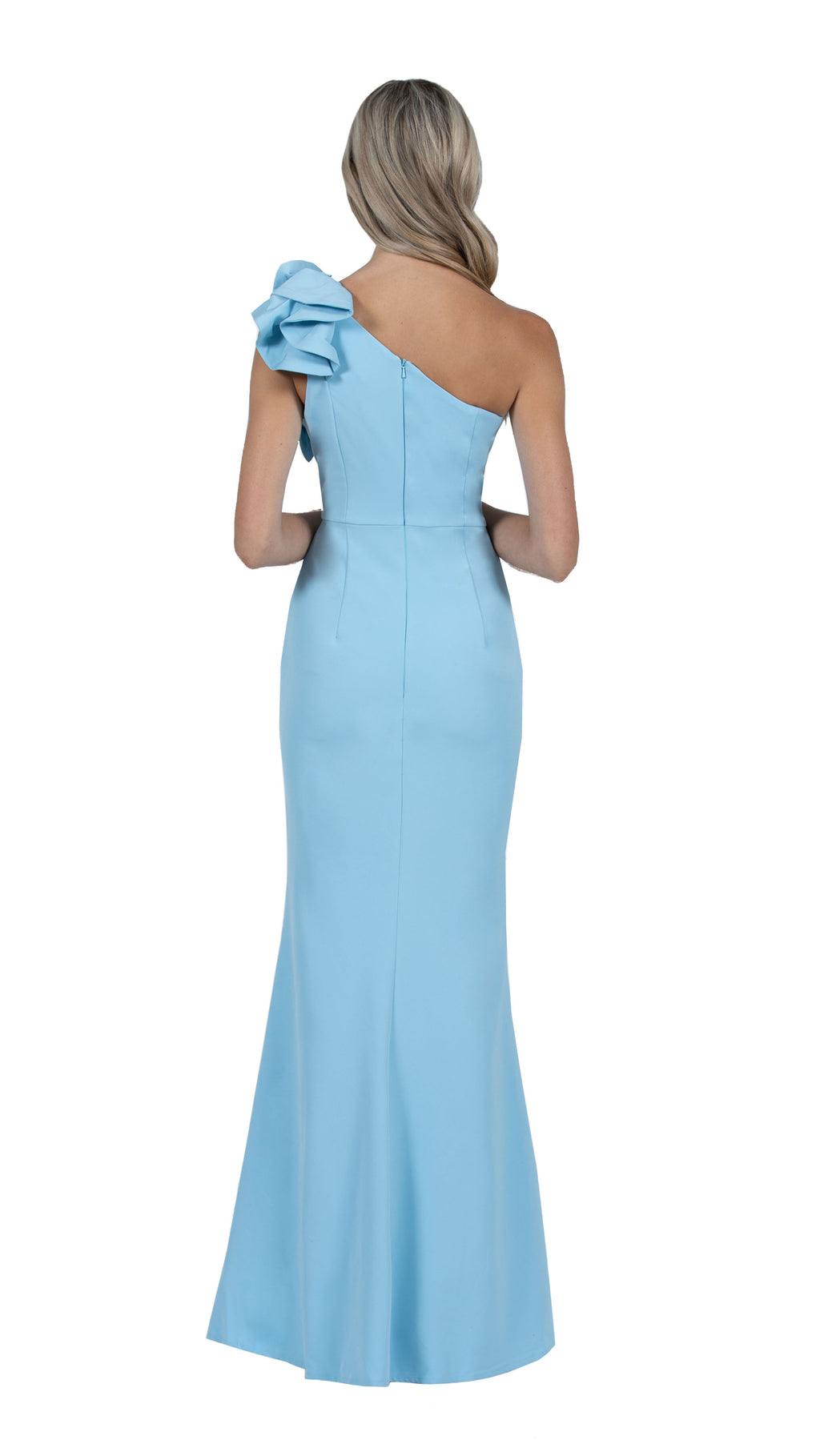 Sue Frill Gown with one shoulder in sky blue back