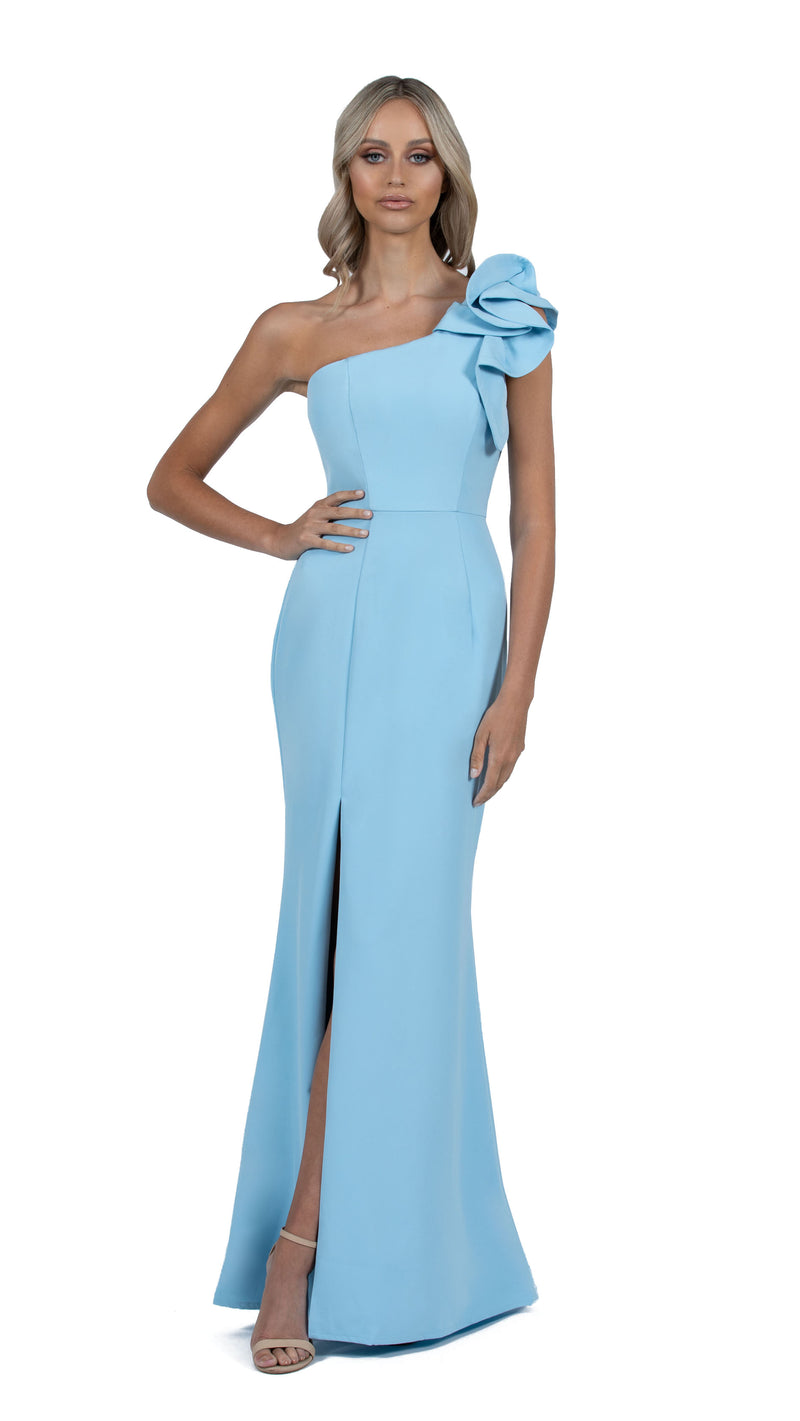 Sue Frill Gown with one shoulder in sky blue